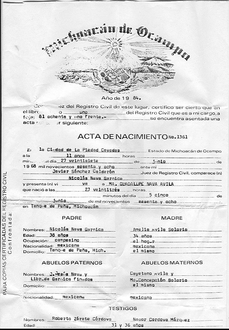 Mexican Birth Certificate